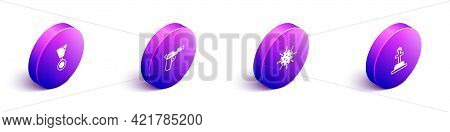 Set Isometric Military Reward Medal, Pistol Or Gun, Naval Mine And Soldier Grave Icon. Vector