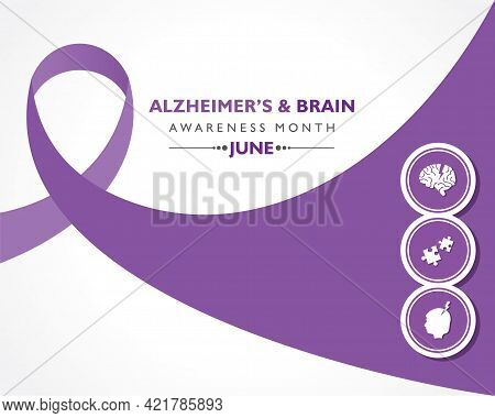 Vector Illustration Of Alzheimer's And Brain Awareness Month Observed In June. It Is An Irreversible