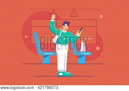 Guy Uses Smartphone In Bus Vector Illustration. Young Man Look In Mobile Phone While Riding To His S
