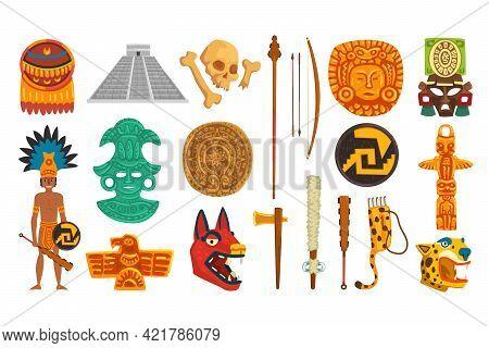 Aztec And Mayan Civilization Cultural Objects Set, Mexican Culture Traditional Symbols Cartoon Vecto