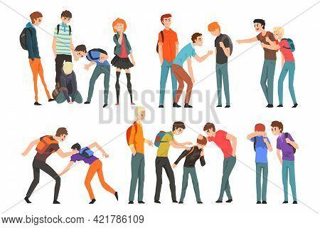 Group Of Teenagers Bullying Sad Classmates Set, Mockery And Bullying At School Concept Cartoon Vecto