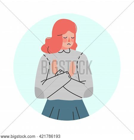 Young Woman Making Negative Hand Gesture Showing Stop Sign In Circular Frame Vector Illustration