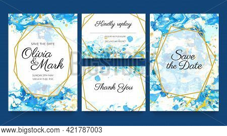 Watercolor Wedding Invite Cards. Blue And Gold Invitation Templates With Liquid Paint Splatters And