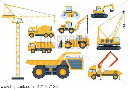 Construction Heavy Equipment. Crane And Building Machinery, Road Roller, Excavator, Tractor, Cement