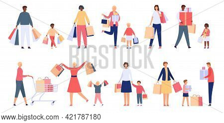 Shopping Families. Man, Woman And Kids With Store Cart, Bags And Boxes. Shopper Characters On Holida