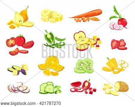 Sliced Fruit And Vegetable. Cartoon Vegetarian Food Cutted Slices, Rings And Pieces. Fruits Half Cut