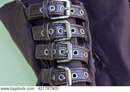 A Row Of Brown Leather Straps With Gray Metal Buckles On The Fabric Of The Bag