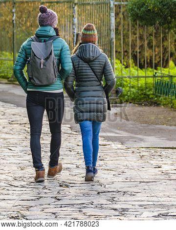 Athens, Greece, December - 2019 - Tourists Walking At Plaka District, Athens, Greece