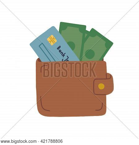 Wallet With Debit Card And Banknotes. Financial Literacy. Vector Isolated Fully Editable Illustratio