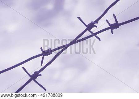 Old Rusty Barbed Wire. Metal Barbed Wire Fence Close-up With Blurred Background. Blue And Cloudy Sky