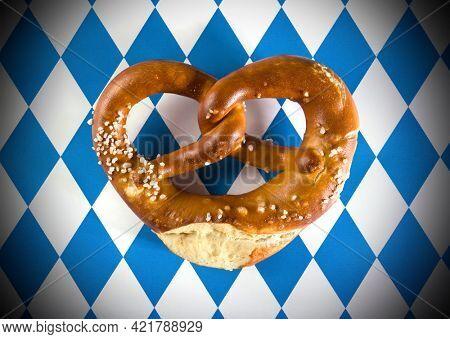 German Pretzel on Bavarian flag pattern