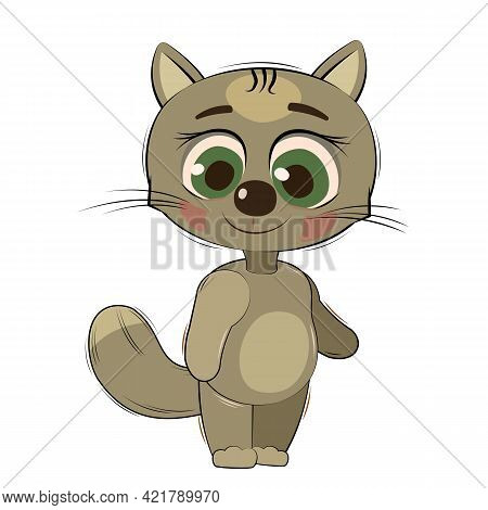 Little Cub Kitten. Cat. Isolated Object On A White Background. Cheerful Kind Animal Child. Cartoons