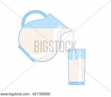 Milk Fill In Glass, Jug Full Cup. Fresh Milk Drink With Vitamins. Milk Beverage For Breakfast. Vecto