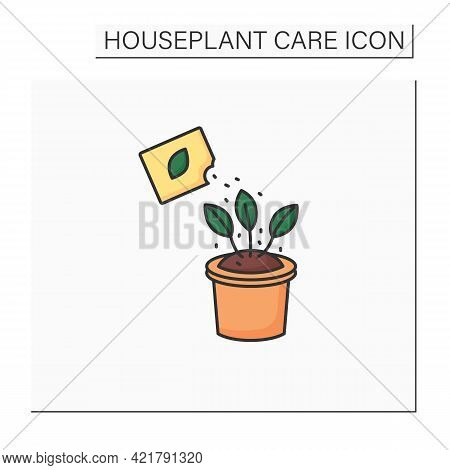Fertilize Color Icon. Manure Houseplant. Home Gardening. Beautiful Home Plant In Pot. Houseplant Car
