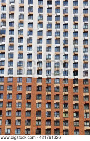 Facade Of A Tall Modern House, Urban Background, Urbanism