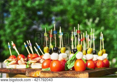 Buffet In The Open Air - Canapes On Cocktail Sticks Close-up Against The Background Of Flowering Tre