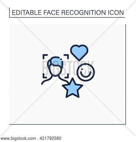 Face Recognition Line Icon. Social Media Authentication By Facial Recognition.face Scanning.identity