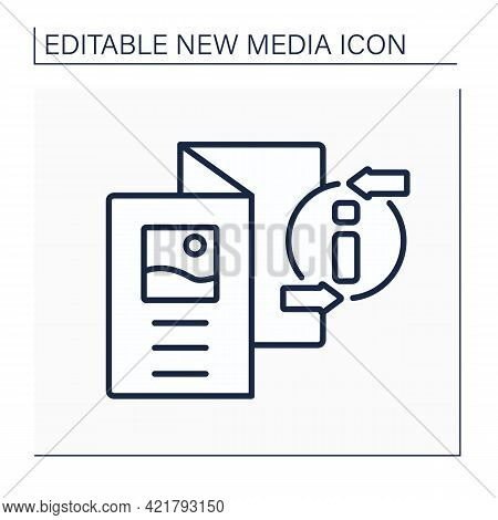Brochure Line Icon. Informative Paper Document. Booklet With Pictures, Information About Product Or