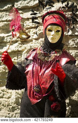 Woman In Red Carnival Venetian Costume-traditionally Dressed Venice Carnival Person
