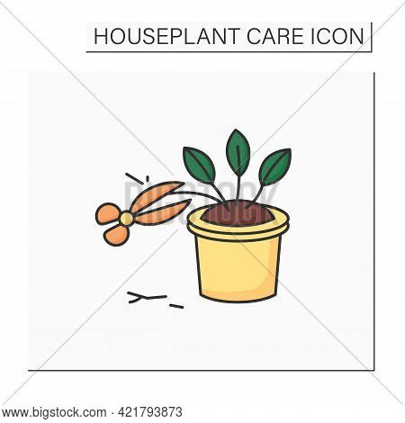 Cleaning Color Icon. Pinch Back Plants. Trimming Leaflets.home Gardening. Houseplant Care Concept.is