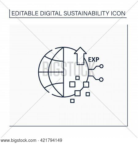 Digital Experience Line Icon. Interaction Between Person And An Organization.modern Technology.globa