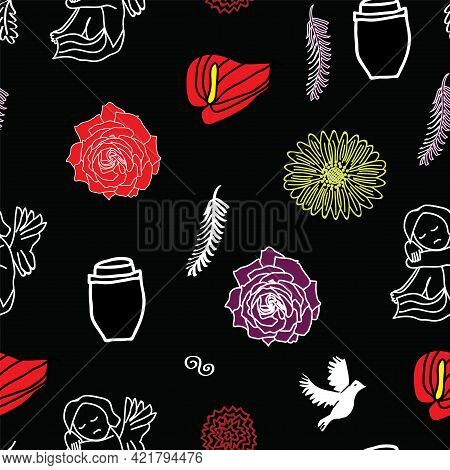 Passing Away, Rip And Funeral Background Seamless Pattern. Silhouette Of Guardian Angel, Caskin, Fea