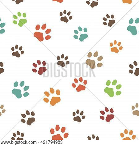 Seamless Pattern With Animal Paws. Traces Of Cats And Dogs. Footprints Of Wild Animals.