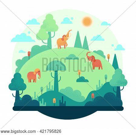 Three Elephants On A Green Meadow - Flat Cartoon Vector Illustration