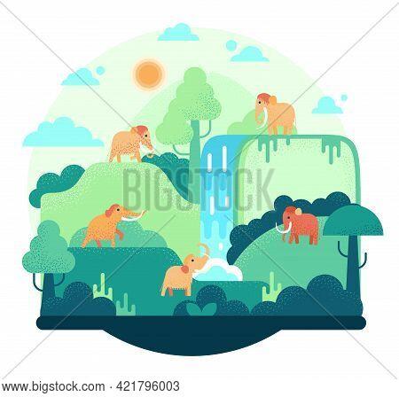 Five Woolly Mammoth Stay Near Waterfall - Vector Illustration In Flat Cartoon Stile