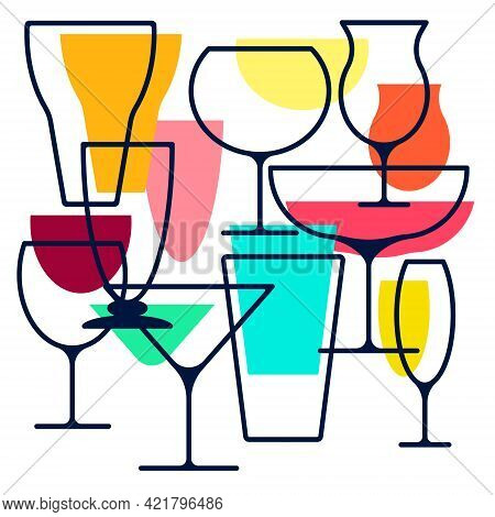 Drawing Alcohol Drinks Collection. Set Of Alcohol Glasses. Colorful Abstract Collection Of Alcohol.