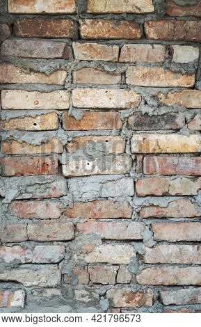 Brick Wall Background. Urban Rustic Texture. Antique House Exterior Wall. Vintage Abandoned Building