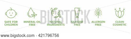 Organic And Natural Cosmetic Line Icons. Skincare Symbol. Allergen Free Badges. Beauty Product. Clea