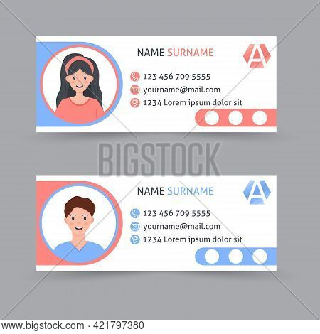 Email Signature Template Design. Corporate Mail Business Email Signature Vector Banner