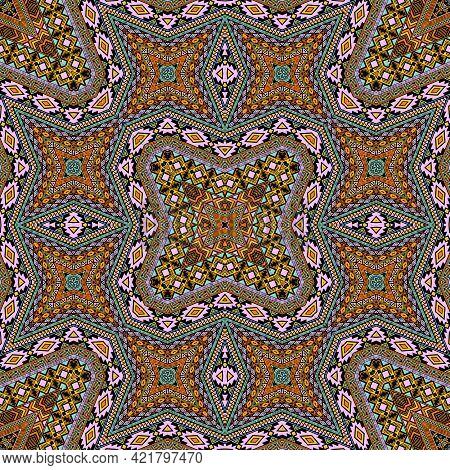 Scandinavian Seamless Ornament Vector Design. Damask Geometric Tile