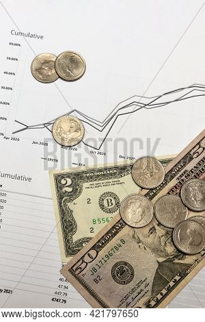 Financial Report. Quarterly Financial Report On Investments In The Stock Market. There Are Dollar Bi