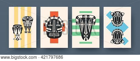 Set Of Art Posters With Ritual Masks. Vector Illustration. .collection Of African Tribal Masks In Co
