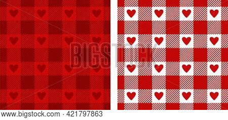 Heart Gingham Patterns In Red, White. Seamless Scottish Tartan Vichy Textured Check Plaid For Dress,