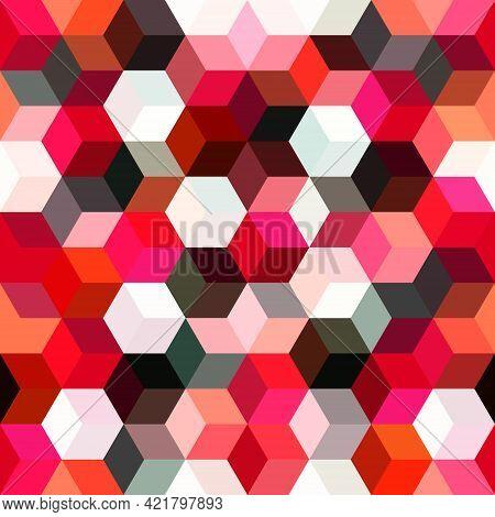 Hexagon Grid Seamless Vector Background. Stylized Polygons Six Corners Geometric Graphic Design. Tre