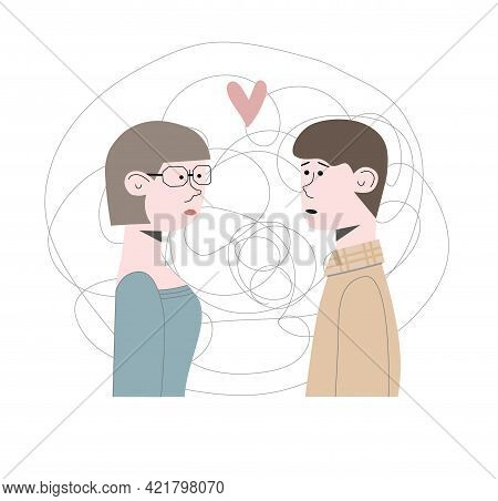 Woman And Man Met First Time, They In Love With Each Other At First Real Sight. Flat Vector Illustra