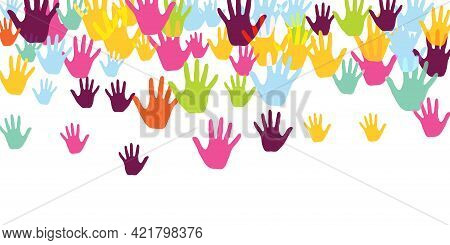 Abstract Kids Handprints Nursery Games Concept Background Design. Toddler Paint Hand Prints Games Pa