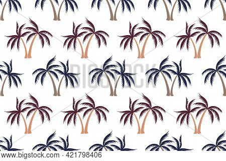 Simple Coconut Tropical Palm Tree Seamless Pattern Summer Holiday Vector Print. Exotic Leaves Tropic