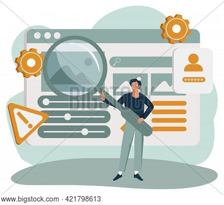 Man Holding Giant Magnifying Glass Or Loupe. Concept Of Seo Or Search Engine Optimization, Internet