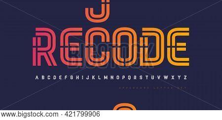 Vector Inline Stencil Uppercase Letter Set, Alphabet, Font, Typography.