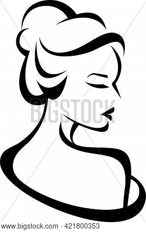 Vector Stylized Silhouette Of A Woman In Profile Template Logo Or An Abstract Concept For Beauty Sal