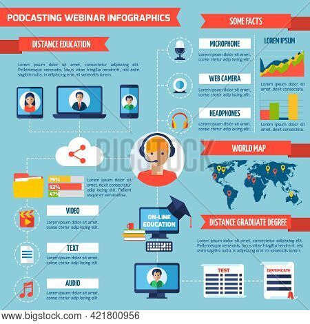 Podcasting And Webinar Infographics With Distance Education Symbols And Charts Vector Illustration