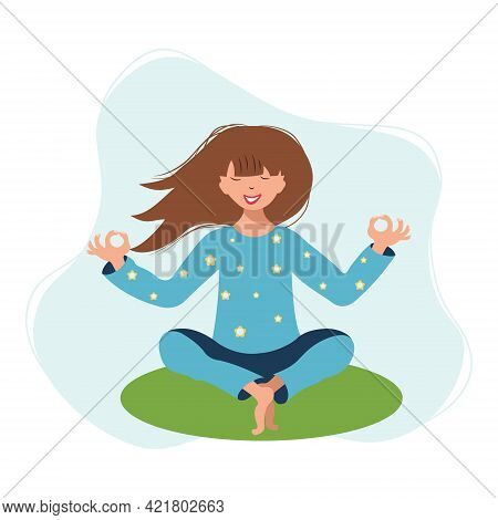 The Girl Sits In The Lotus Position And Meditates. The Concept Of Relaxation, Yoga, Meditation For L
