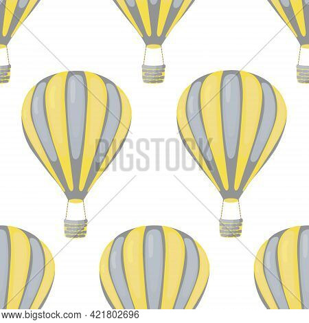 Hot Air Balloons In The Sky Seamless Vector Pattern Design.join Us On A Journey To The Sky With This