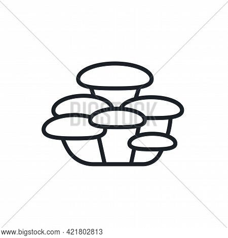 Oyster Mushroom Icon. Vector Isolated Linear Icon Contour Shape Outline. Thin Line. Modern Glyph Des