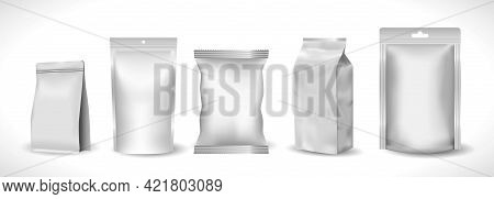 Set Of Realistic Mock Up Plastic Pocket Product Or Zip Package Foil Bag Or Template Baked Chips Snac