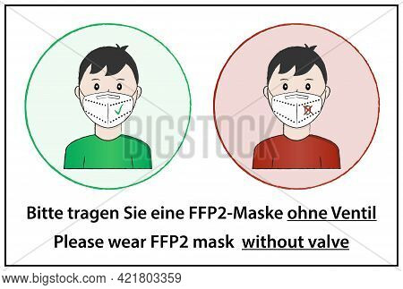 The Man Is Wearing A White Ffp2 Protective Mask Without A Valve In Round Sign With Green Background
